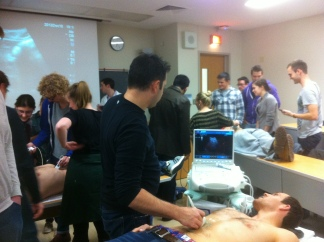 First and second year medical students practice their ultrasound skills
