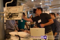 Dr. Thompson guides students through Aorta, Hepatobiliary & Renal ultrasound workshop