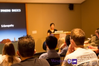 Su Ganapathy engages students during the Procedural Ultrasound lecture and live demonstration