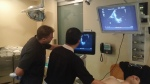 Dr. Sean Doran, EM Ultrasound fellow, in action.