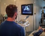 A participant reviewing some bedisde images