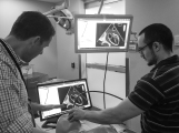 Scott Millington teaching goal directed TEE to a Western Critical Care fellow